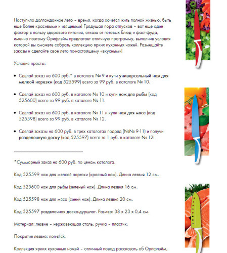 "Условия акции ""Вкусное лето"" в каталогах Орифлэйм №№ 9-11"
